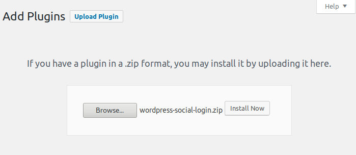 Upload WordPress Social Login